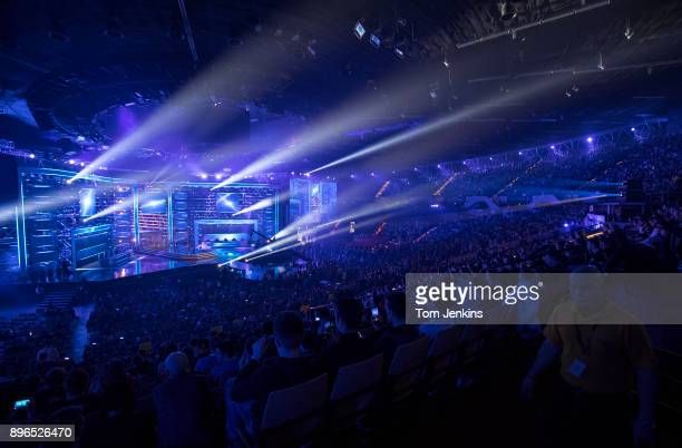 A light show signals the start of the Intel Extreme Masters CounterStrike esports tournament being held in the Spodek Arena in Katowice on March 3rd...