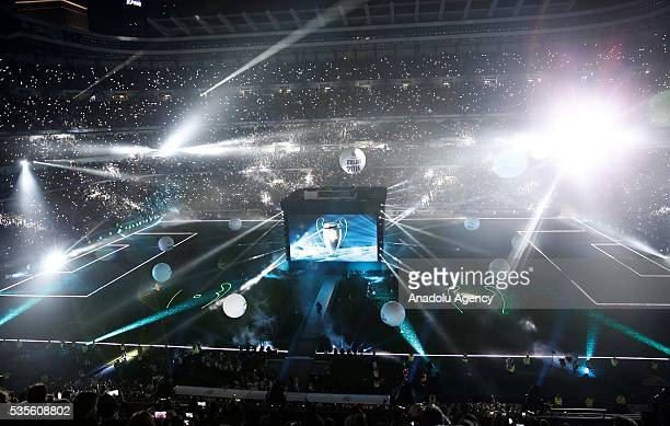 Light shows and fireworks are seen during the celebration with their fans after winning the UEFA Champions League Final match against Club Atletico...