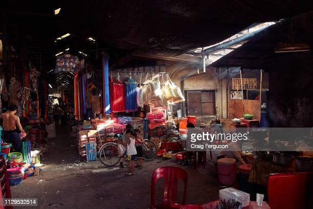 Light streams in through the roof at the Central Market in Siem Reap