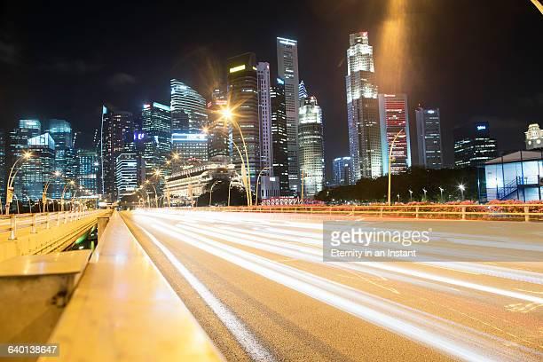 Light streams with Singapore skyline