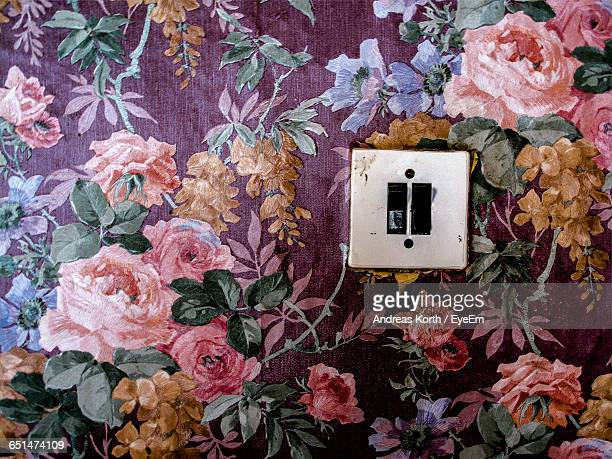 Light Switches On Floral Patterned Wall At Home