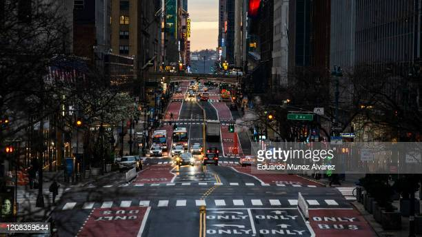 Light Traffic is seen along 42nd street on March 27 2020 in New York City Mayor Bill de Blasio chose four streets across four boroughs to test...