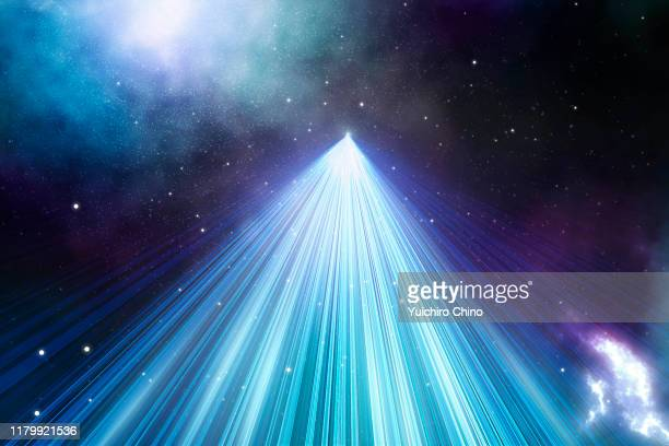 light trail in outer space - spirituality ストックフォトと画像
