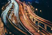 Light Trail of Shanghai Highway at Night