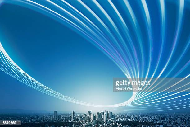 Light trail over the city