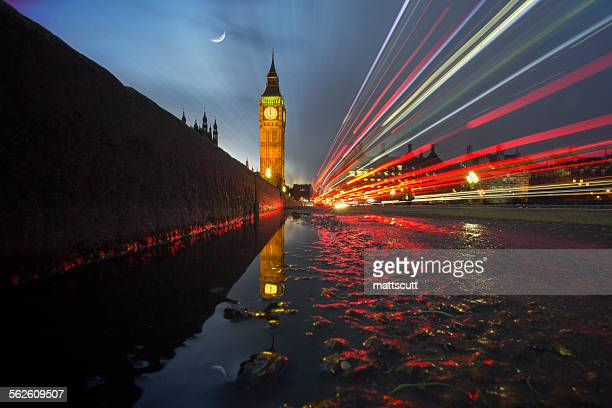 Light trails across Westminster Bridge with Big Ben in the background, London, UK