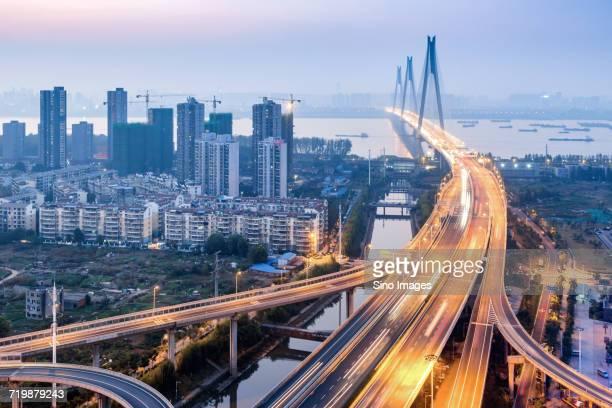 Light trails along urban motorway, Wuhan, China