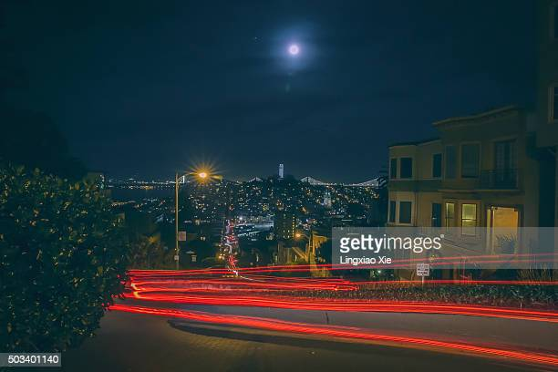Light Trails and Full Moon over Lombard Street, San Francisco