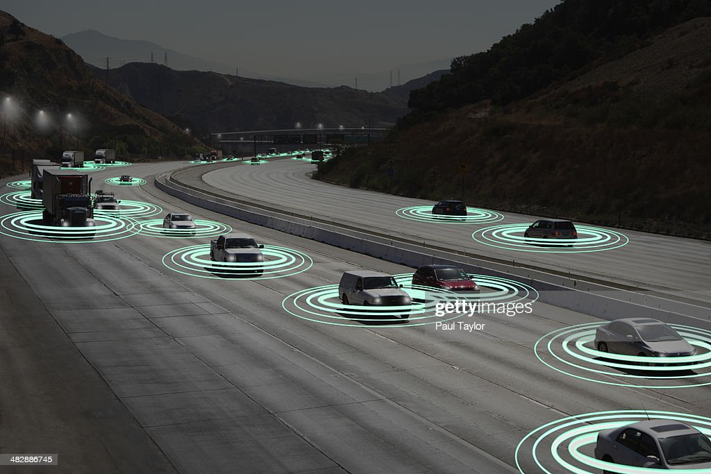 Light Trails as Vehicles Communicate : Stock Photo