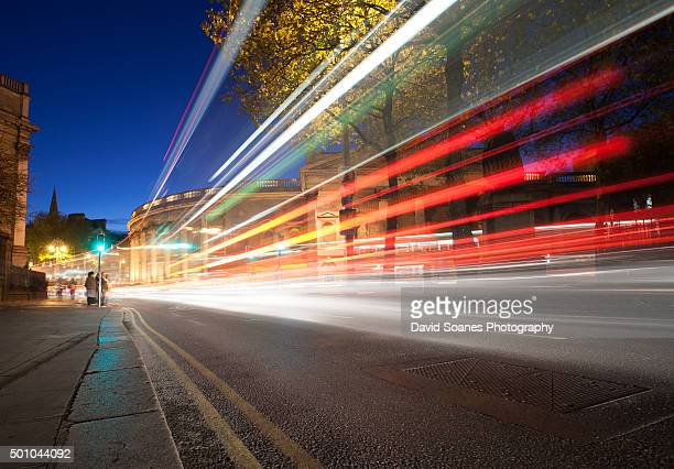 Light trails at College Green, Dublin City, Ireland