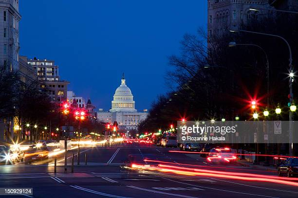 Light trails at rush hour in Washington