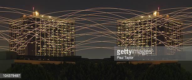 Light Trails Between Buildings
