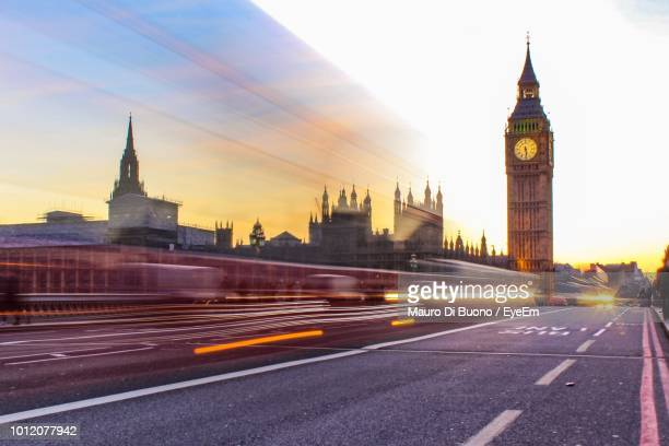 Light Trails By Big Ben In City