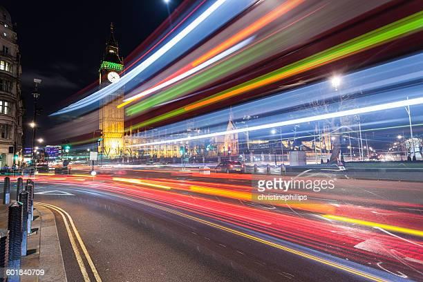 Light trails by big ben, London, England, UK