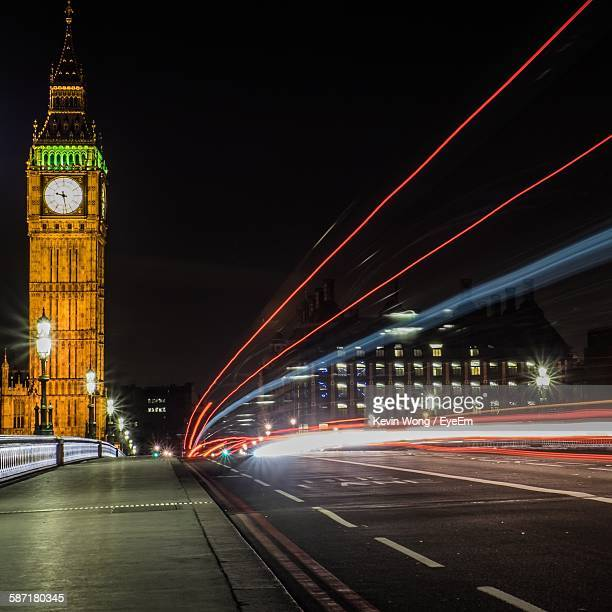 Light Trails By Illuminated Big Ben