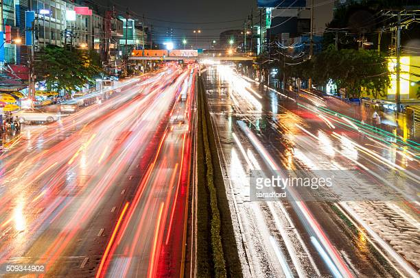 Light Trails From Night Traffic In Bangkok, Thailand