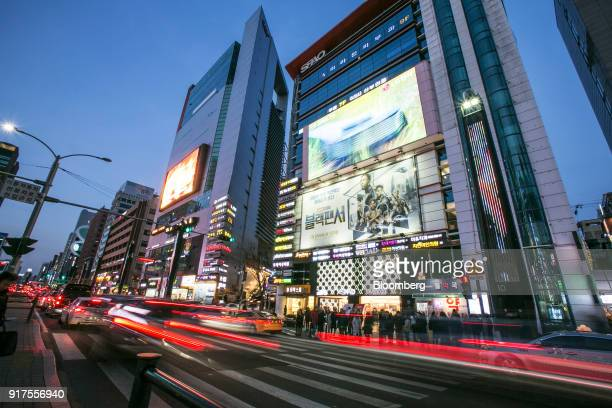 Light trails from passing traffic illuminate a road at night in the Gangnam district of Seoul South Korea on Sunday Jan 28 2018 5G the...