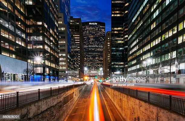 light trails grand central terminal, new york, us - metlife building stock pictures, royalty-free photos & images