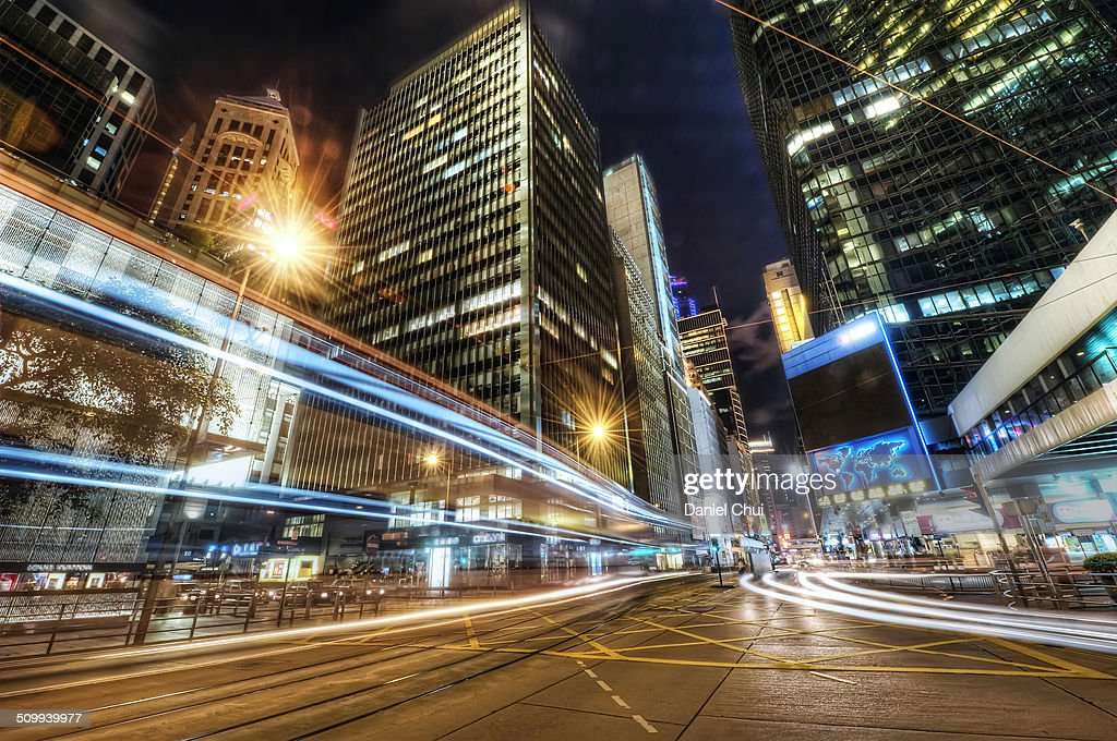 Light trails in Central District, Hong Kong : Stock Photo