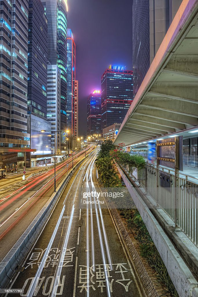 Light trails in Central, Hong Kong : Stock Photo