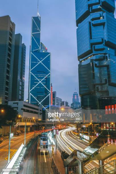 Light trails in downtown Hong Kong at dusk with iconic skyscrapers