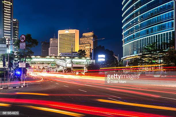 Light trails in the night of Jakarta, Indonesia