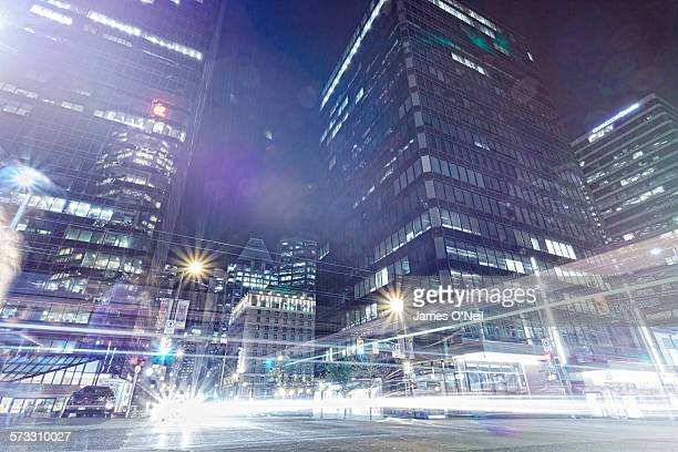 Light trails in Vancouver City center