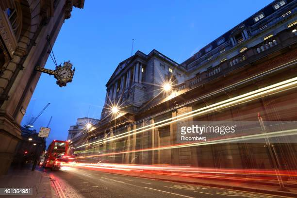 Light trails made by passing traffic are seen outside the Bank of England in London UK on Wednesday Jan 8 2014 The UK central bank's Monetary Policy...