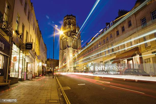 Light trails of traffic moving up Park Street in Bristol with the Wills Memorial Building of Bristol University in the background taken on January 19...