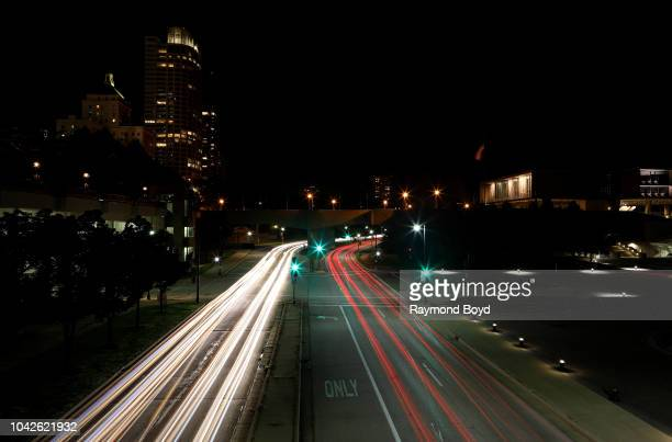 Light trails of traffic on Harbor Drive downtown in Milwaukee Wisconsin on September 13 2018