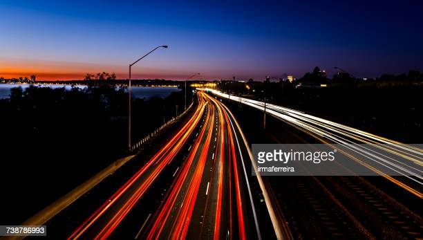 Light trails on a freeway at night, Perth, Western Australia, Australia