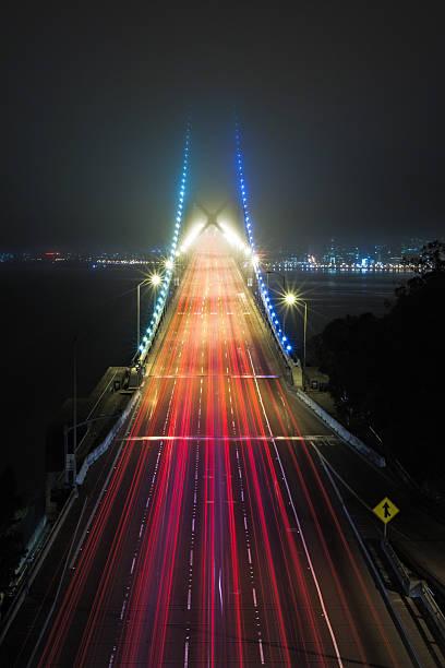 Light Trails On Bridge Wall Art