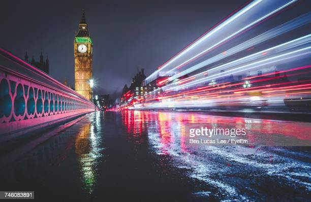 Light Trails On Illuminated City At Night