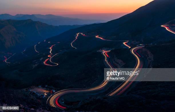 light trails on jabel jais mountain road - ras al khaimah stock pictures, royalty-free photos & images