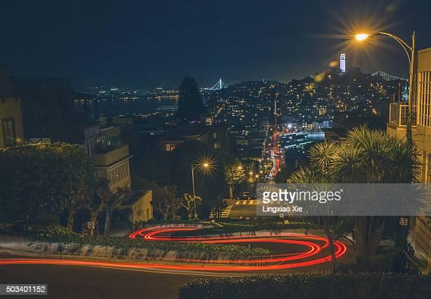 Light Trails on Lombard Street, San Francisco
