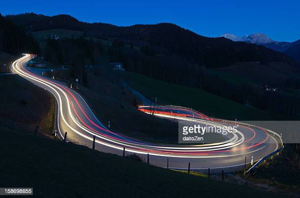 Light trails on mountain road