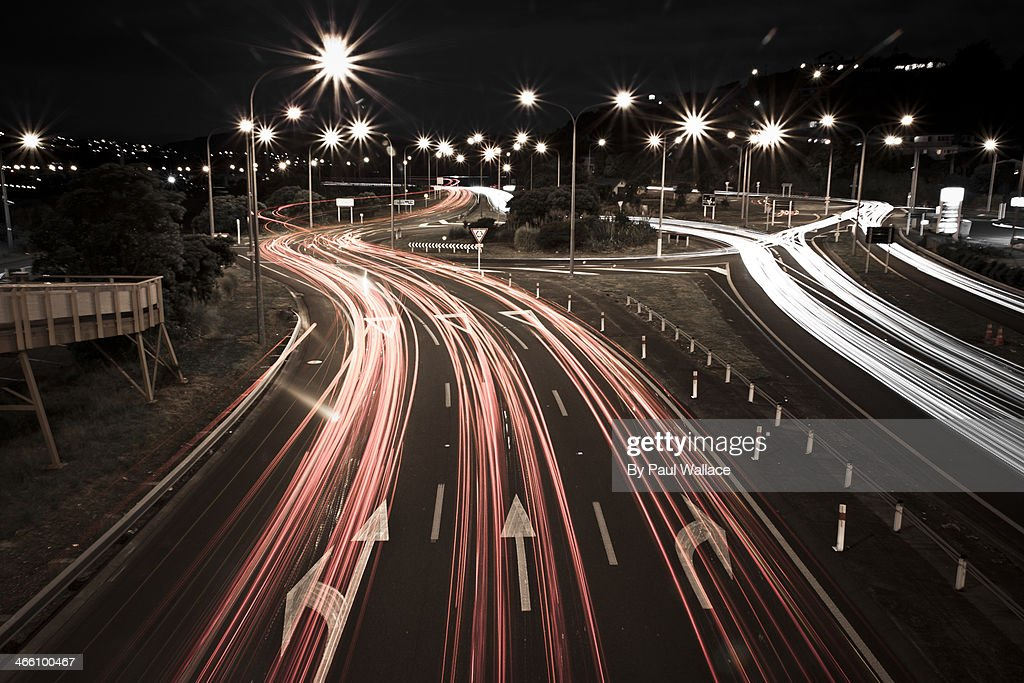 Light trails on Paremata roundabout : Stock Photo