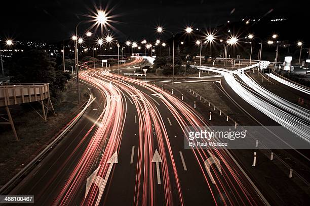 Light trails on Paremata roundabout
