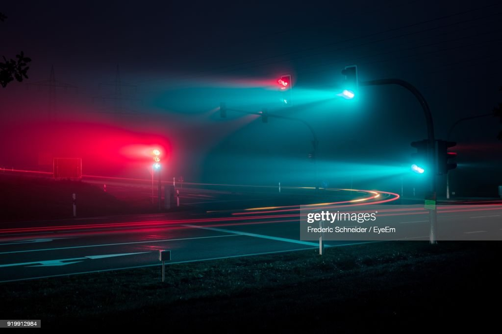 Light Trails On Road At Night : Stock-Foto