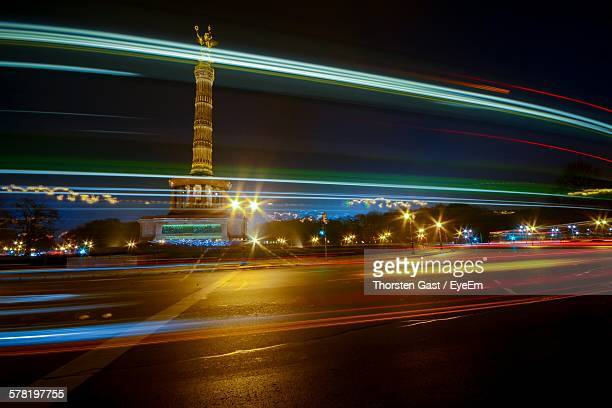 Light Trails On Road By Victory Column At Night