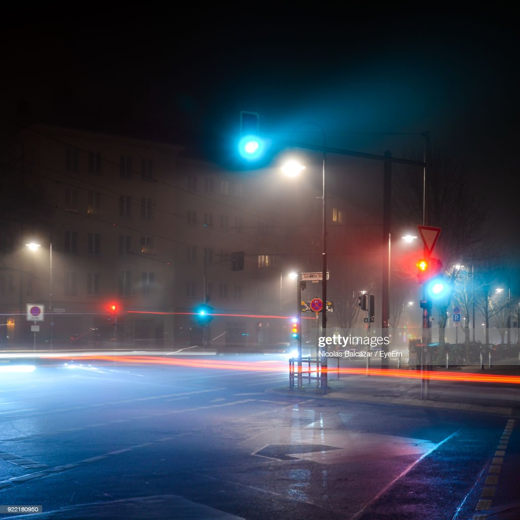 Light Trails On Road In City At Night : Stock Photo