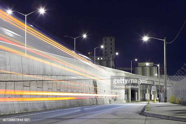 Light trails on street at night (long exposure)