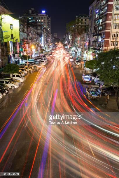 Light trails on the Anawrahta Road in Yangon (Rangoon), Myanmar (Burma) at night.