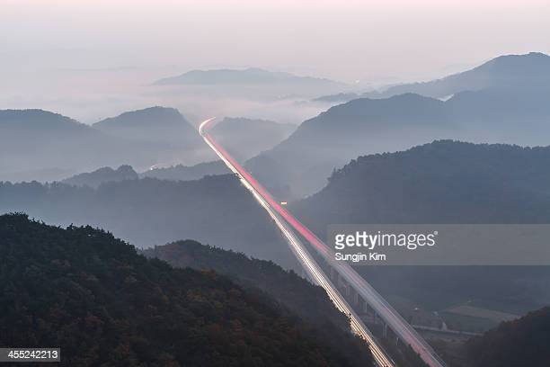 Light trails on the highway viewed from above