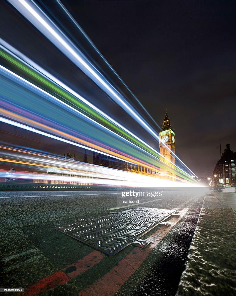 Light trails on Westminster Bridge at night, London, England, UK : Stock Photo