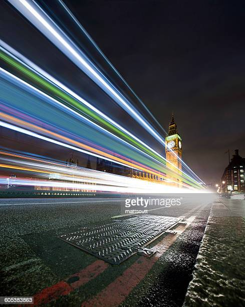 Light trails on Westminster Bridge at night, London, England, UK