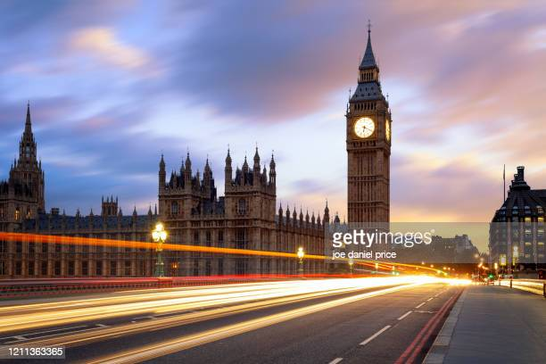 light trails on westminster bridge, big ben, london, england - democracy stock pictures, royalty-free photos & images