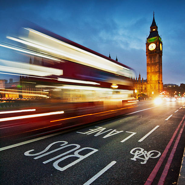 Light Trails On Westminster Bridge With Big Ben In The Background, London, UK Wall Art