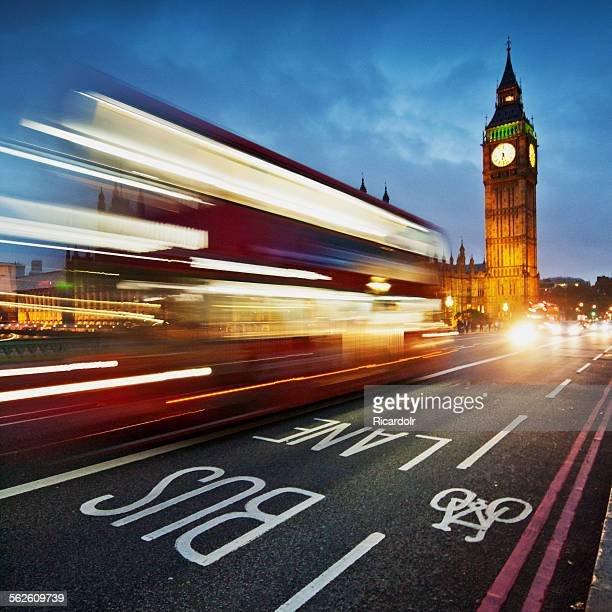Light trails on Westminster Bridge with Big Ben in the background, London, UK