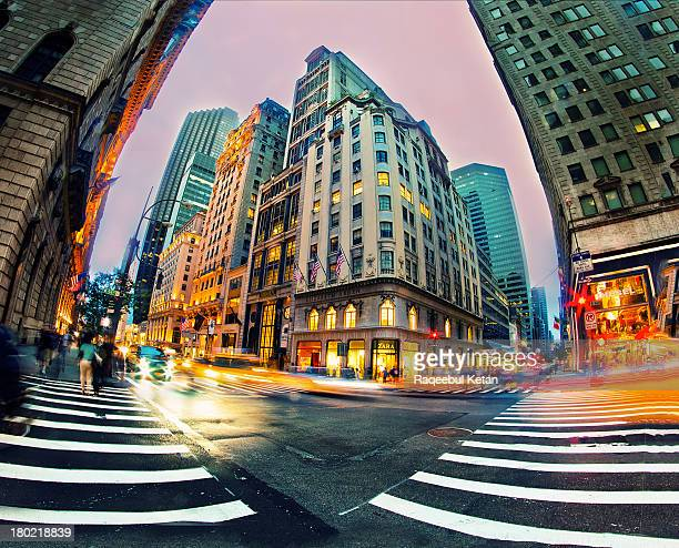 Light trails with fisheye lens in New York City